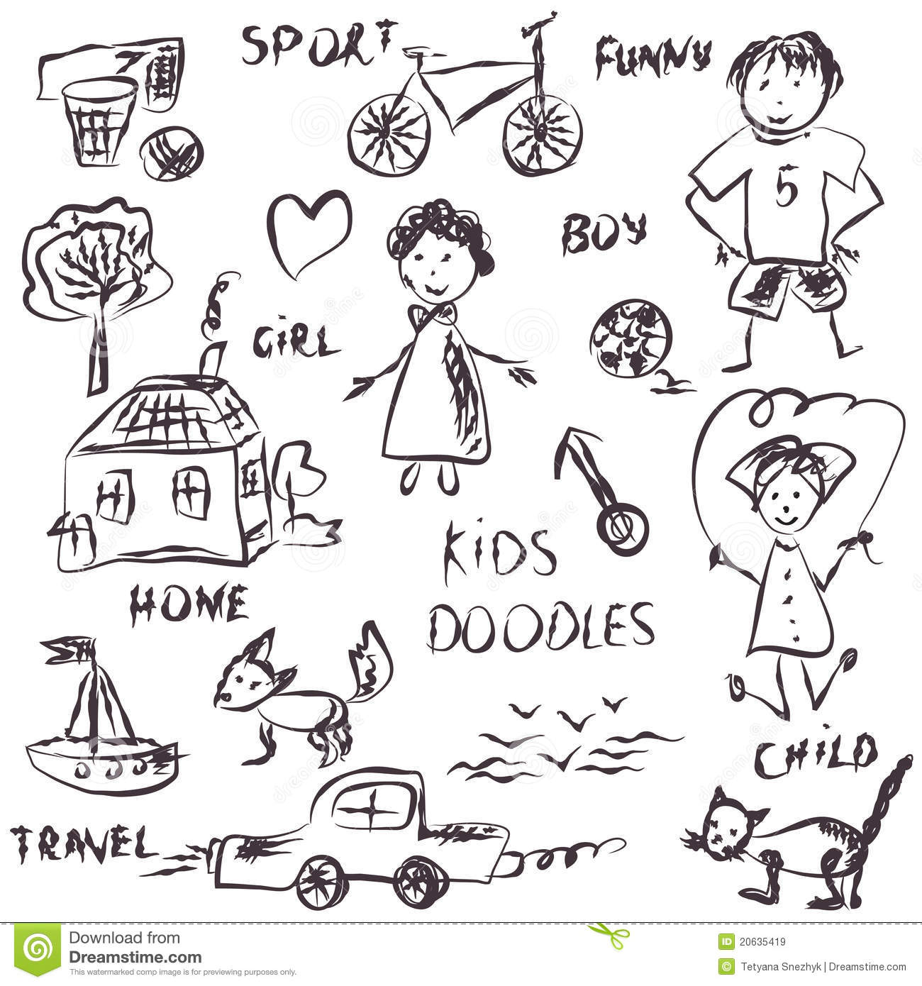 Kids Doodles Cartoon Royalty Free Stock Images