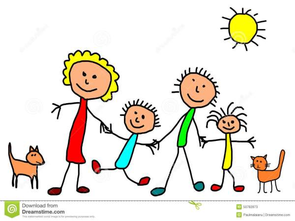 Kids Drawing - Happy Family Stock Illustration