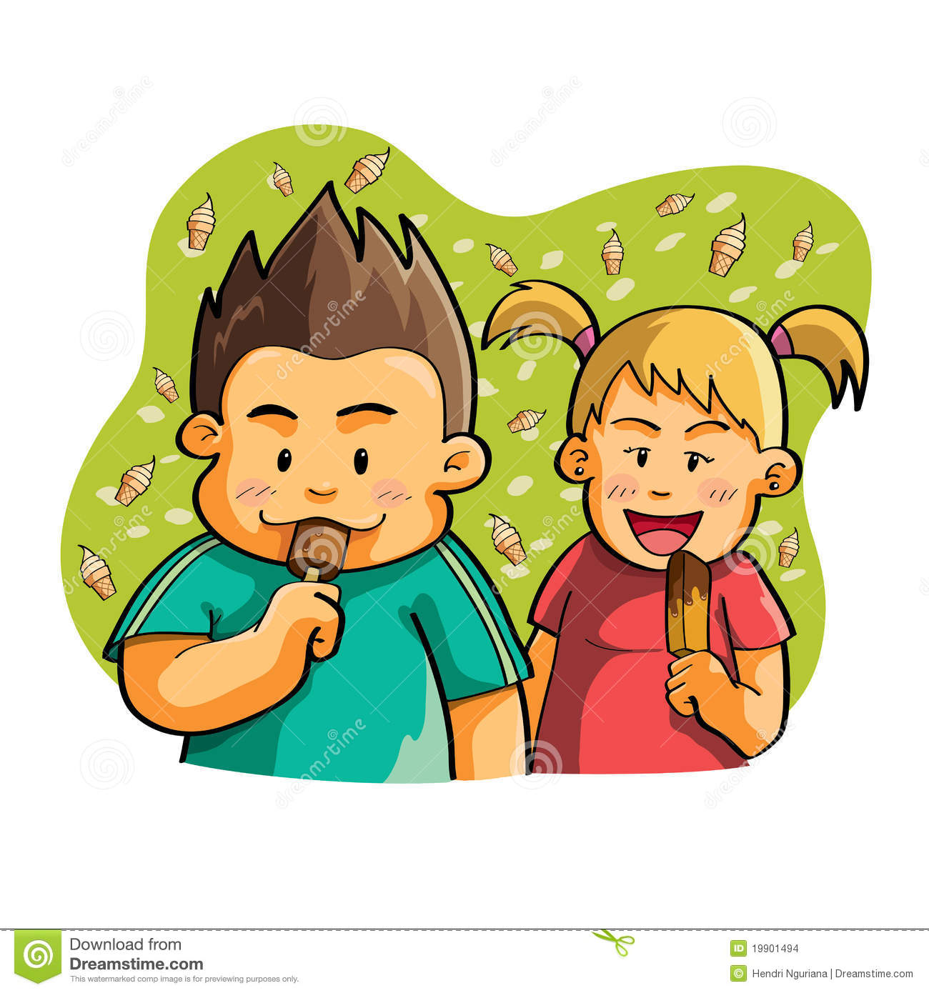 Kids Eating Ice Cream Stock Images