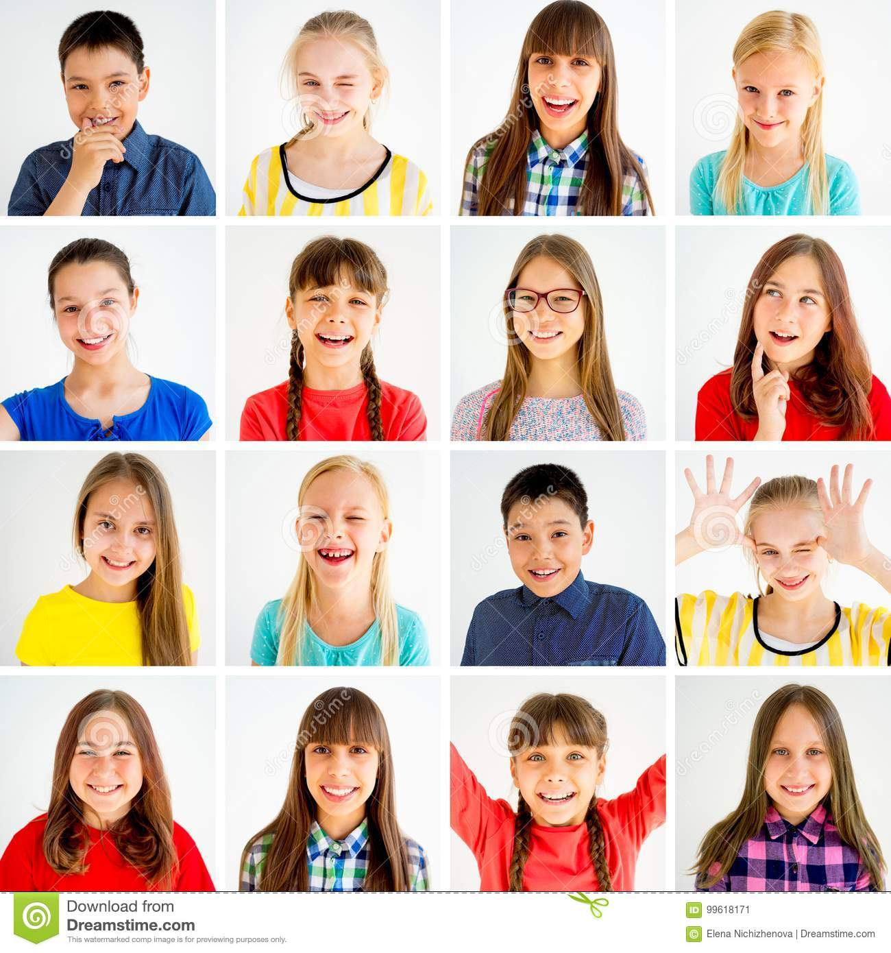 Kids Emotions Collage Stock Image Image Of Pretty