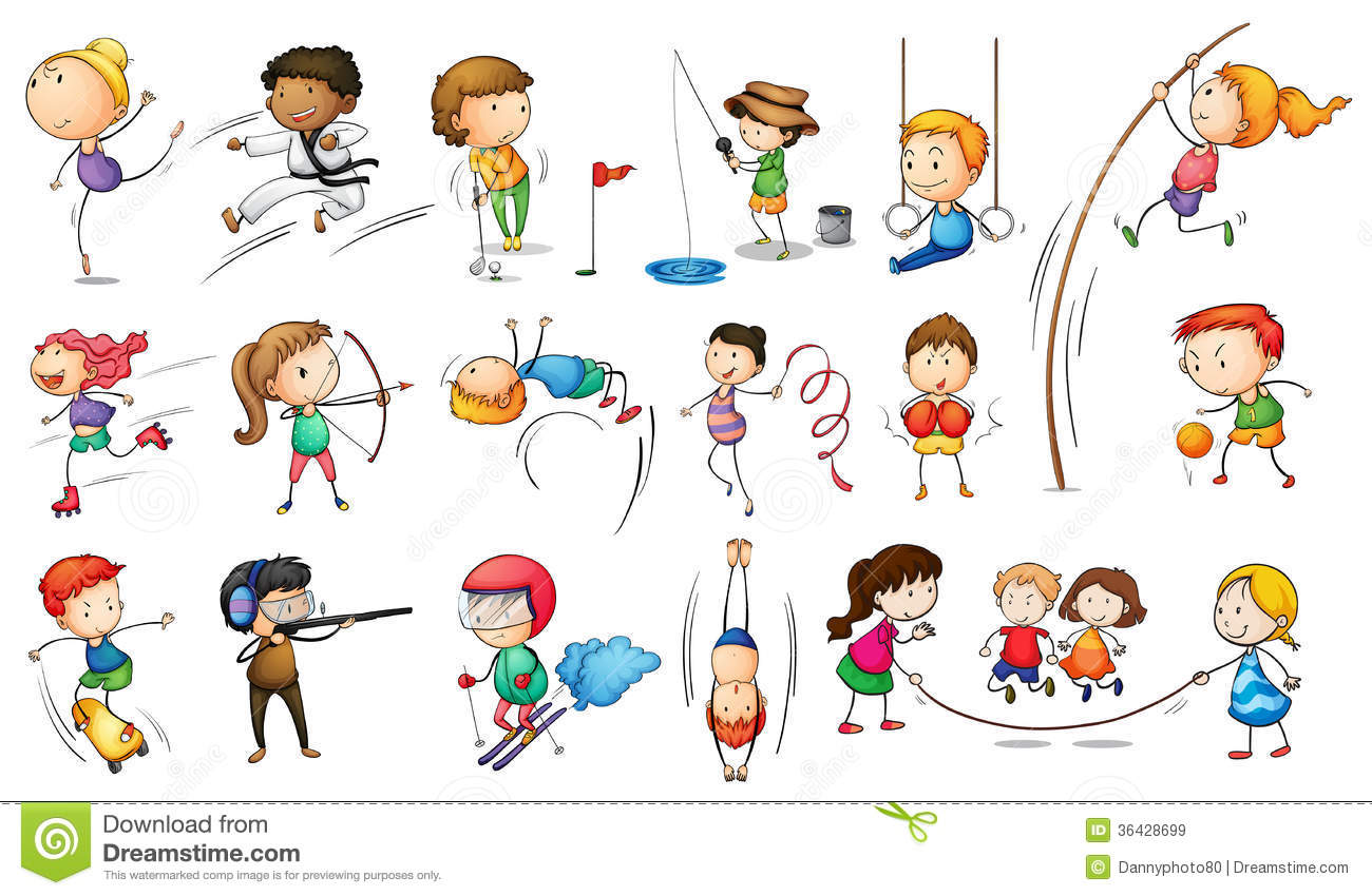 Kids Engaging In Different Sports Royalty Free Stock