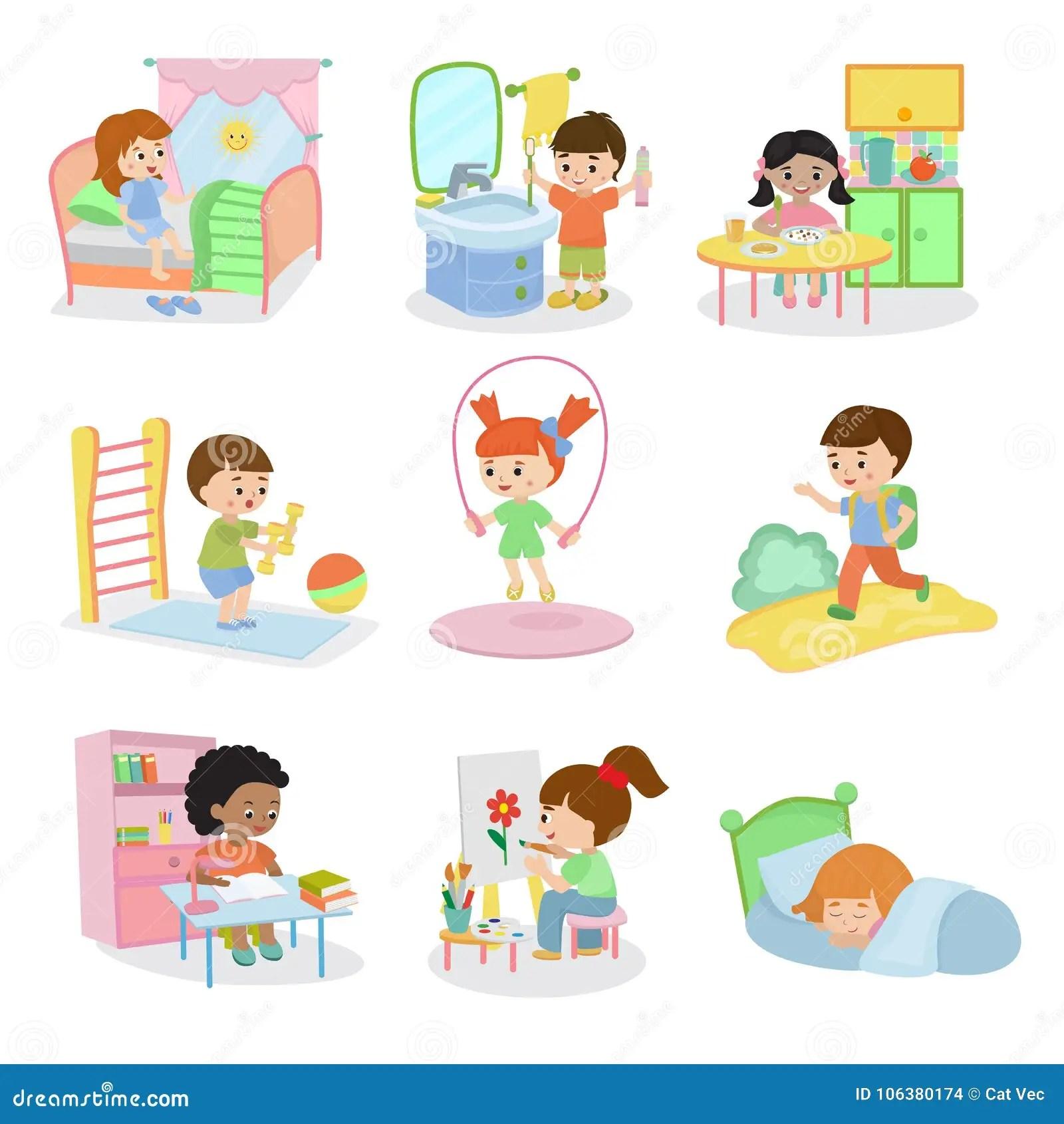 Kids Everyday Activities Vector Set Children Daily Activity Routine In Childhood Character