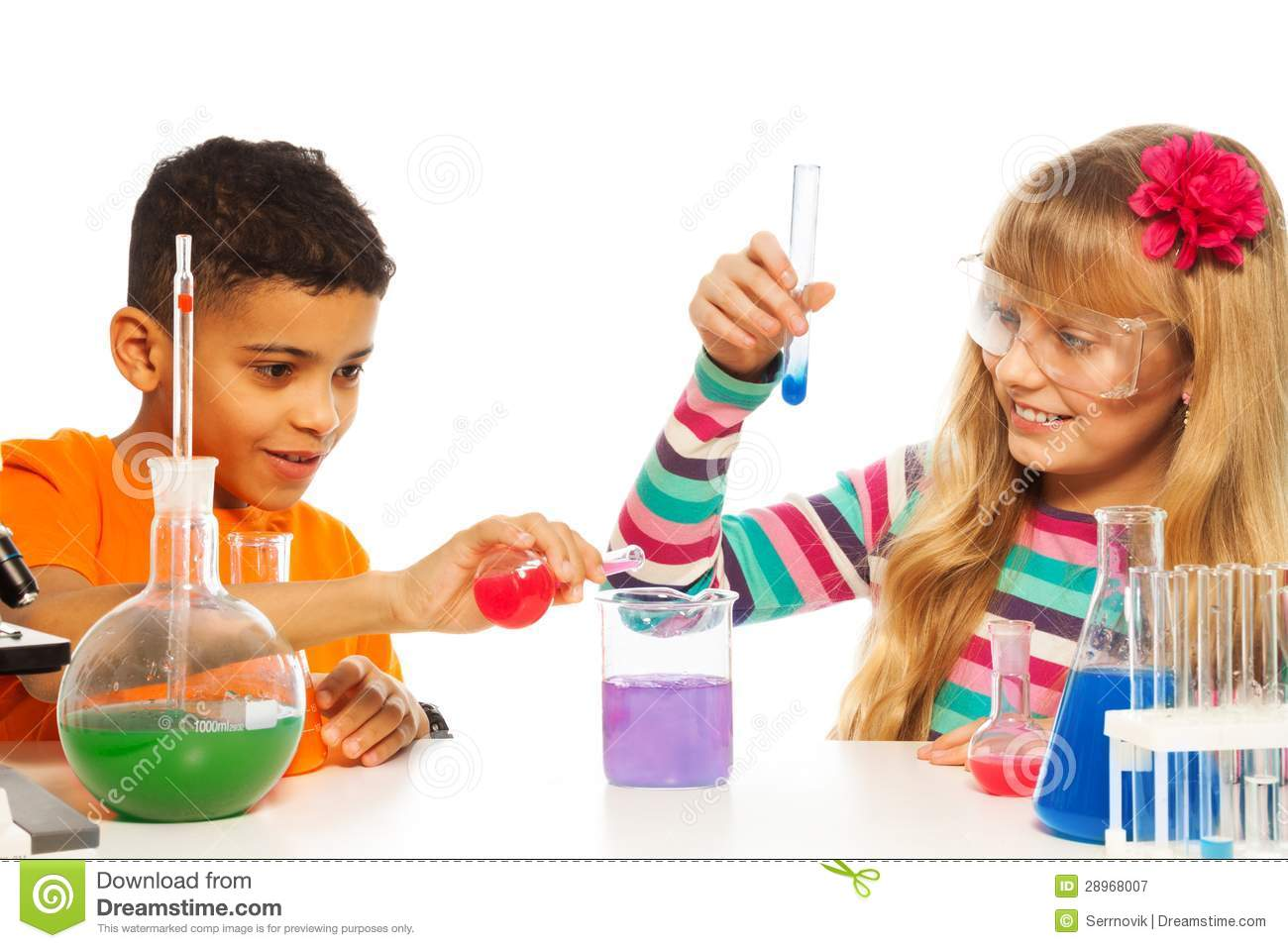 Kids Experimenting In Chemistry Stock Image