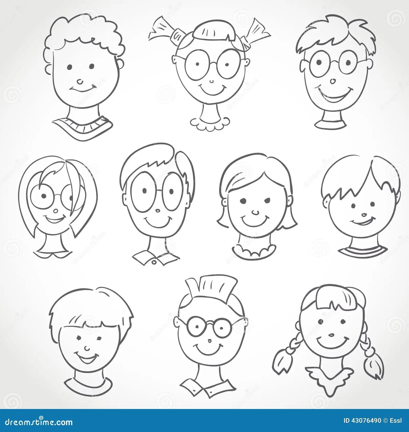 Kids Face Set Sketch Stock Vector Illustration Of People
