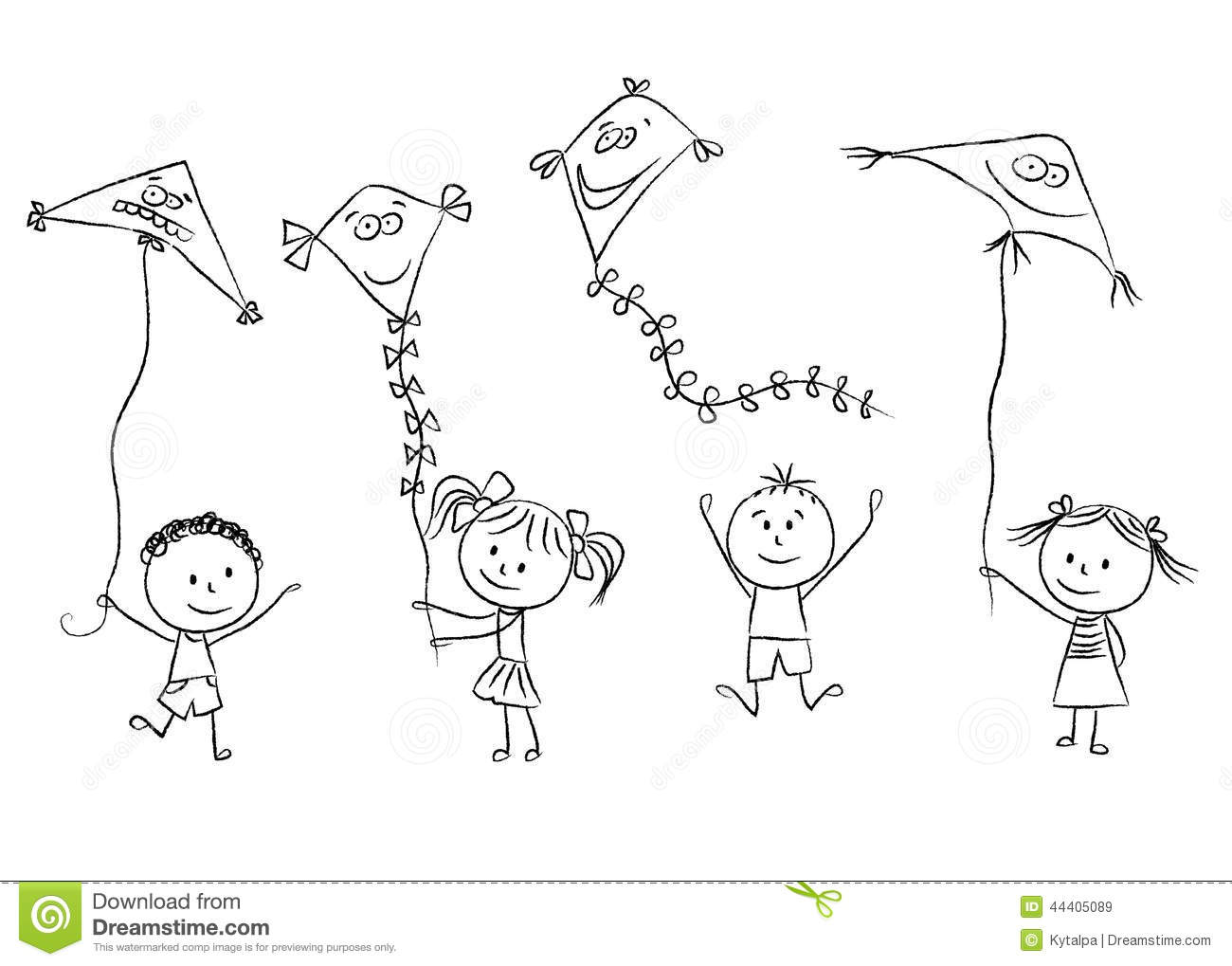 Kids With Flying Kites Stock Vector Illustration Of