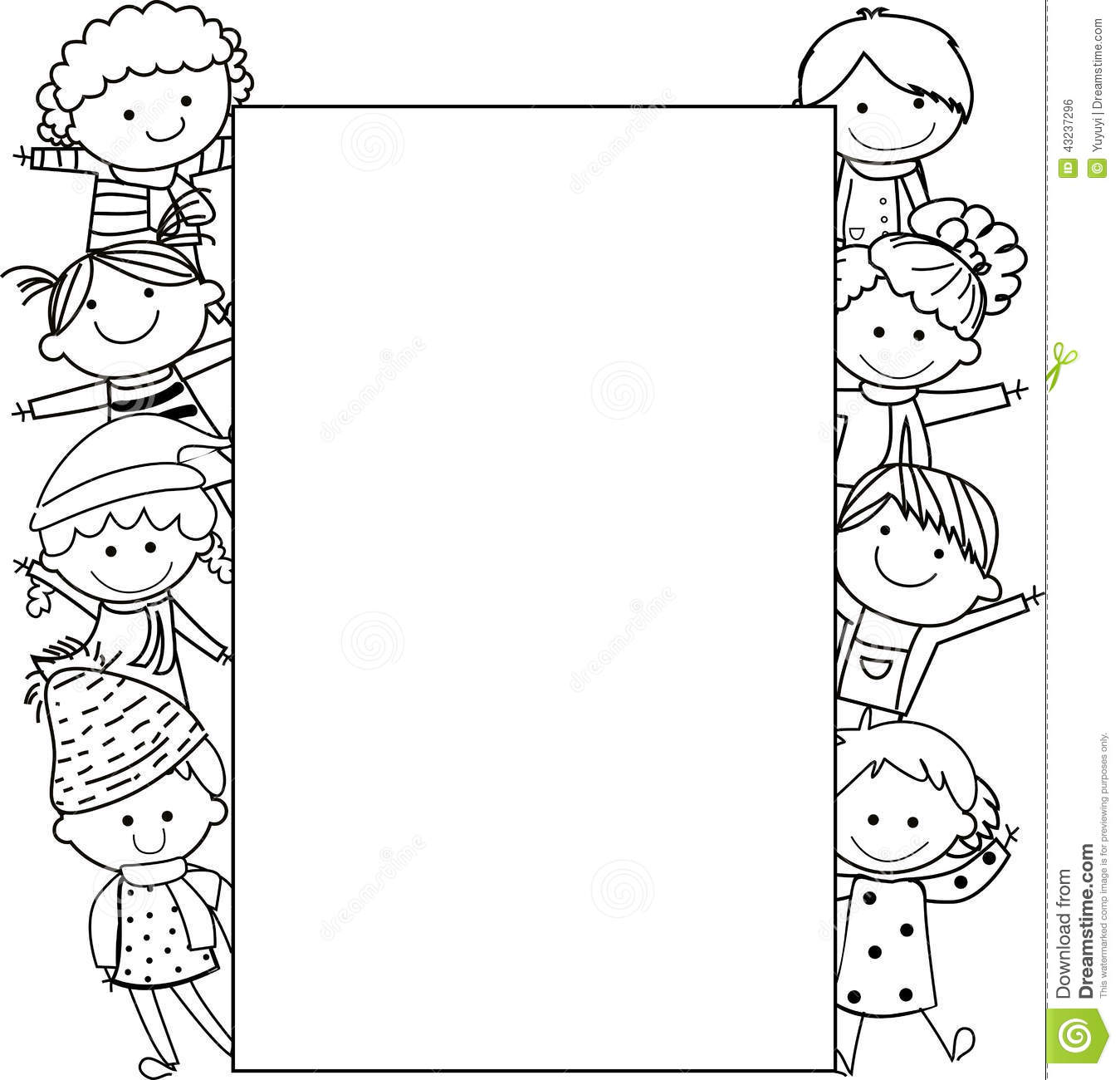 Kids And Frame Stock Vector
