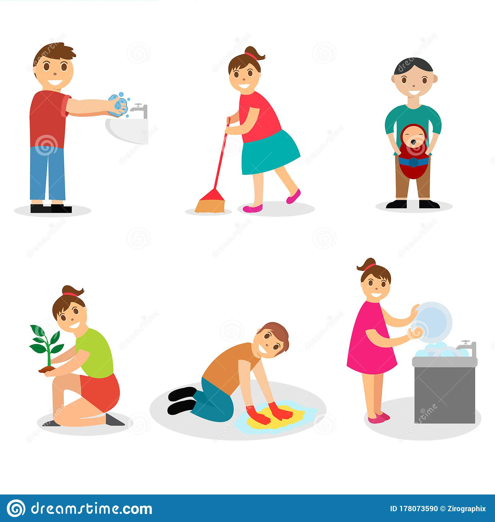 Kids Good Habits Vector Illustration Stock Illustration