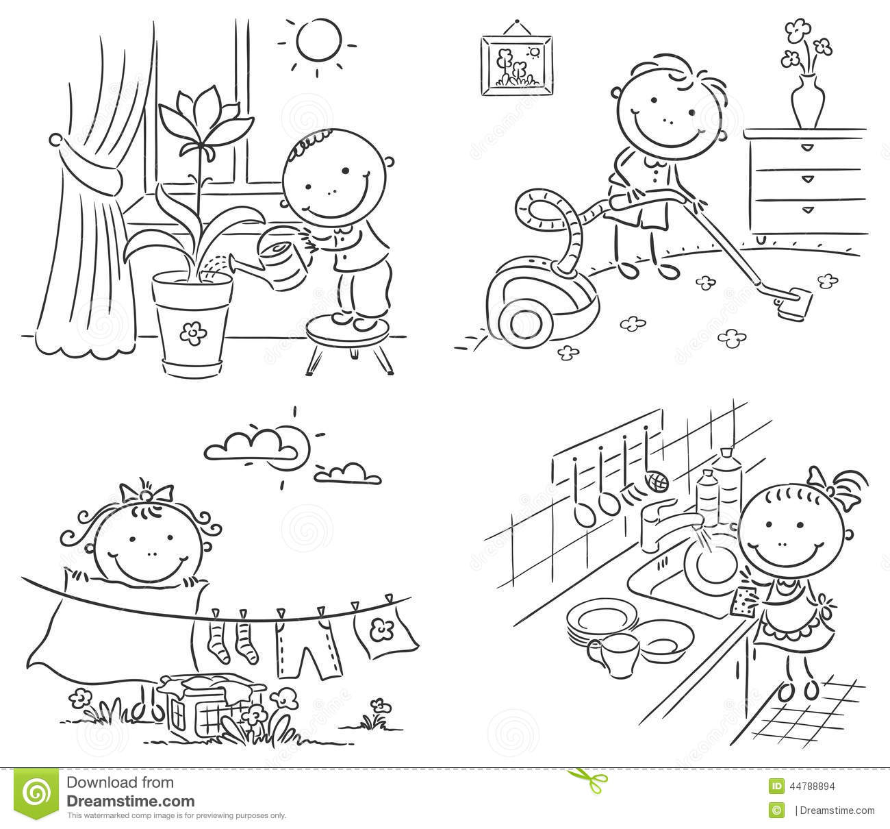 Kids Helping Their Parents With The Housework Stock Vector