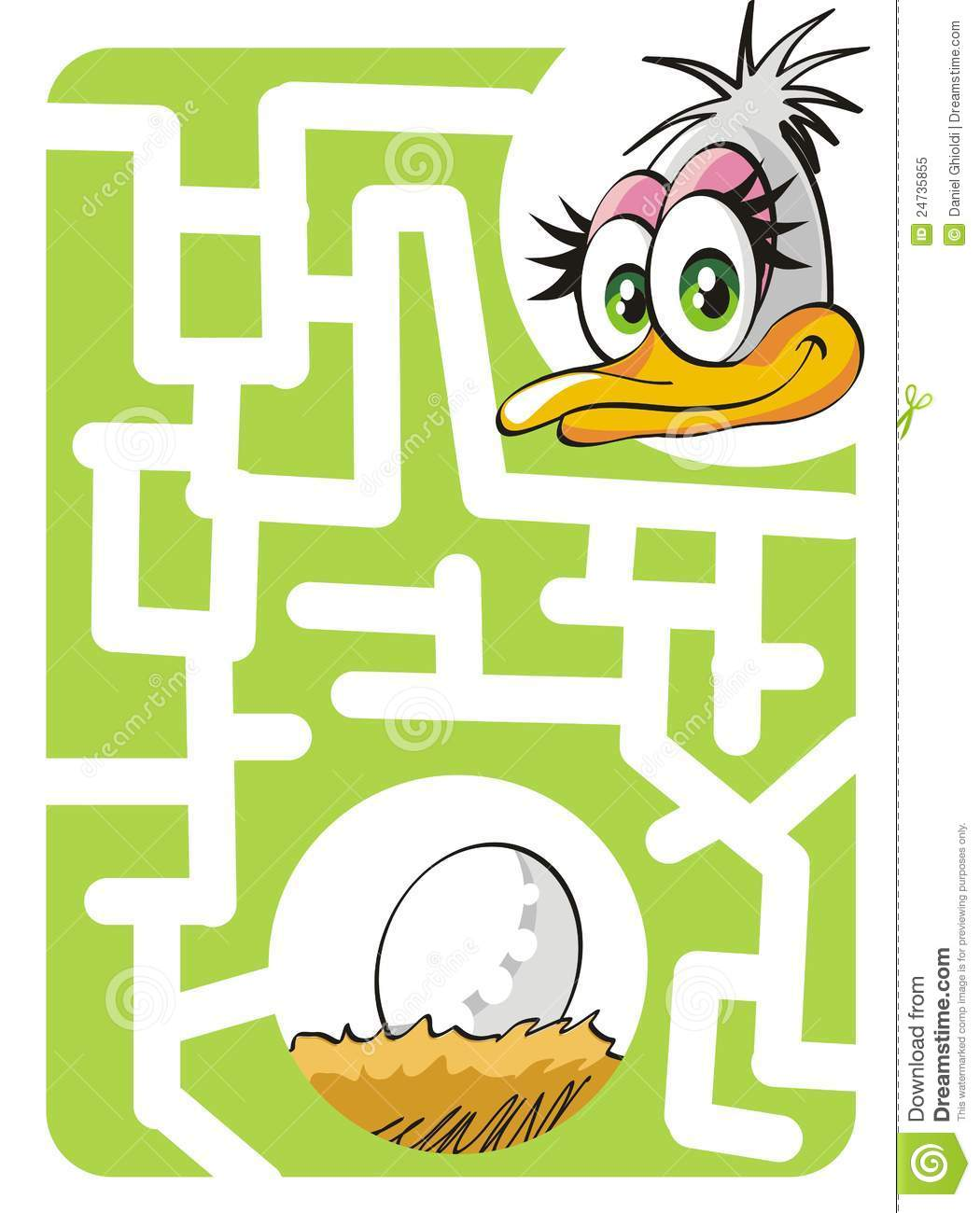 Kids Labyrinth Mother Ostrich And Egg Stock Vector