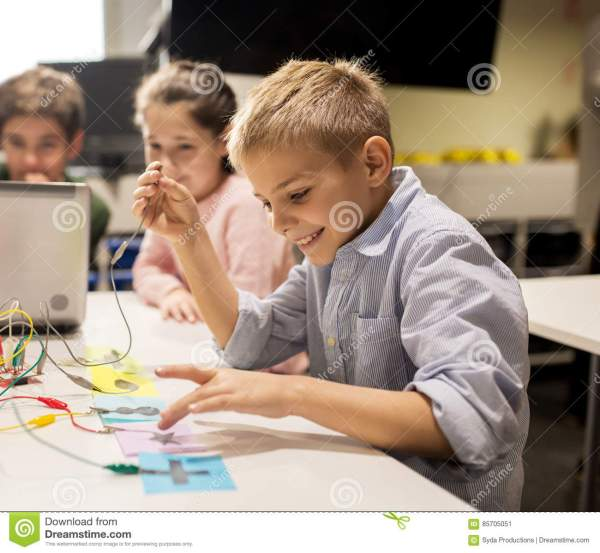 Kids Laptop And Invention Kit Robotics School Stock