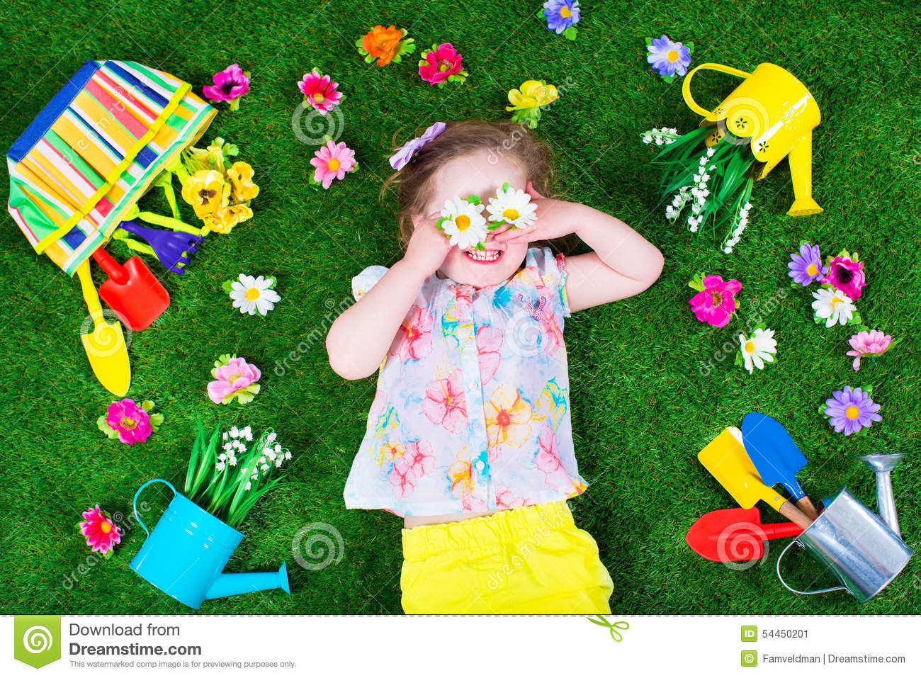 Kids On A Lawn With Garden Tools Stock Image