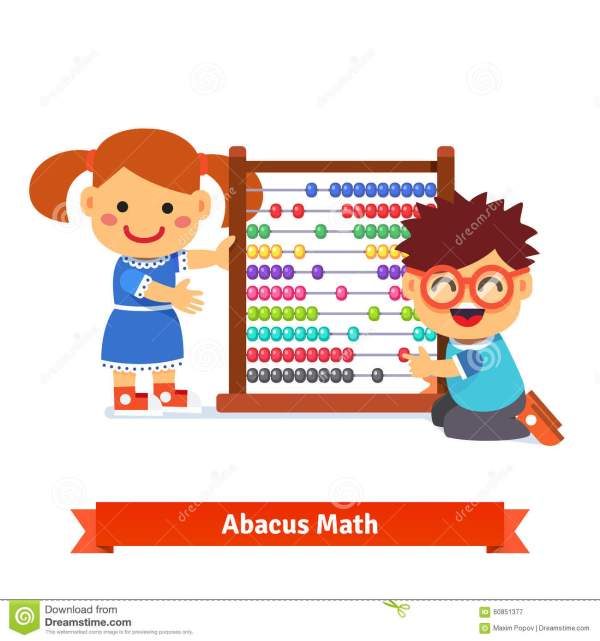 Cartoon Kid Learning Math