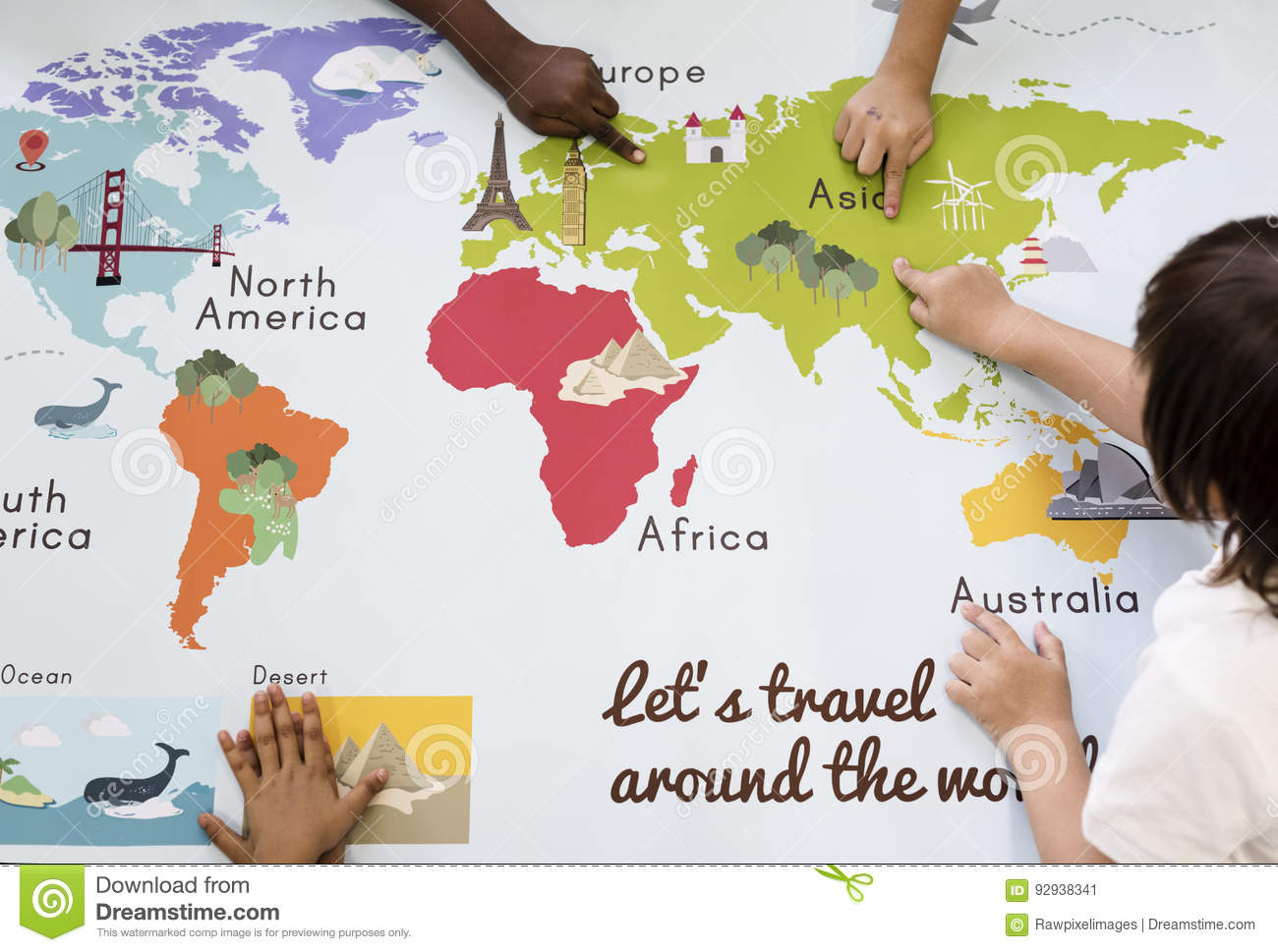 Kids Learning World Map With Continents Countries Ocean Geograph Stock Image