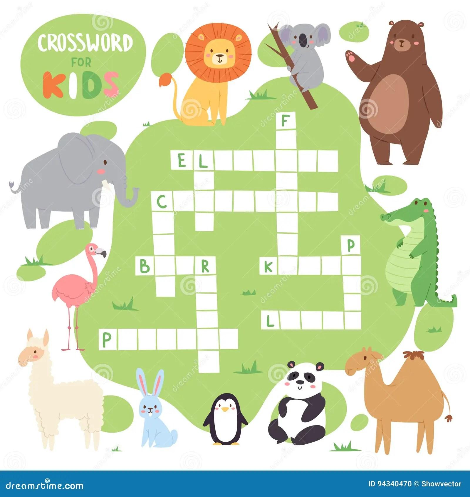 Crossword Words Game For Children Vector Illustration