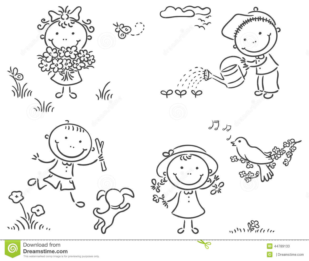 Kids Outdoors In Spring Stock Vector Image Of Drawing