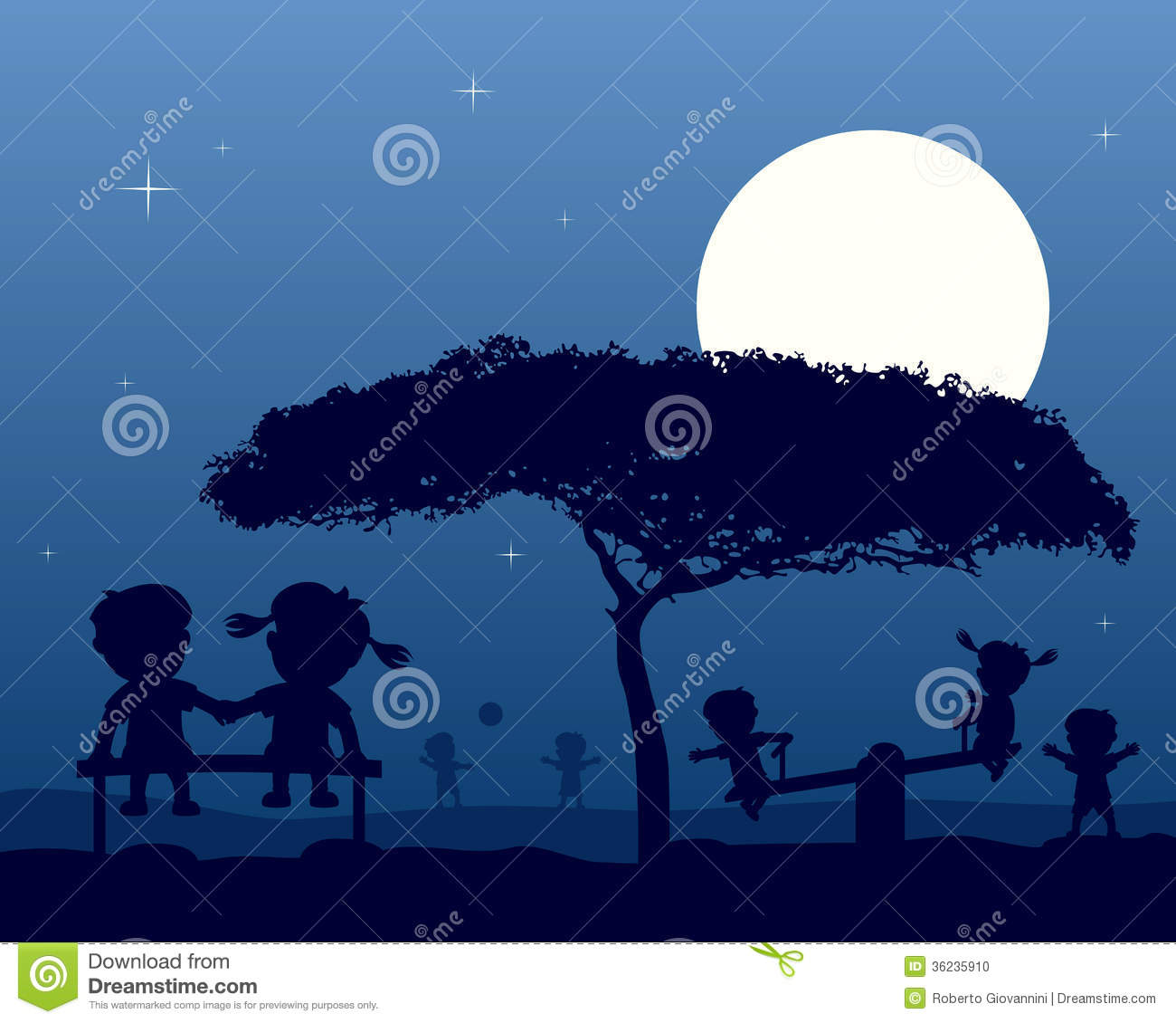 Kids At The Park Silhouettes At Night Stock Photo Image