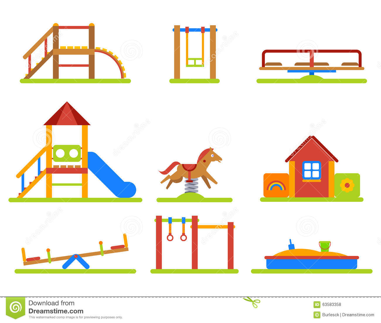 Kids Playground Flat Vector Icons Set Stock Vector