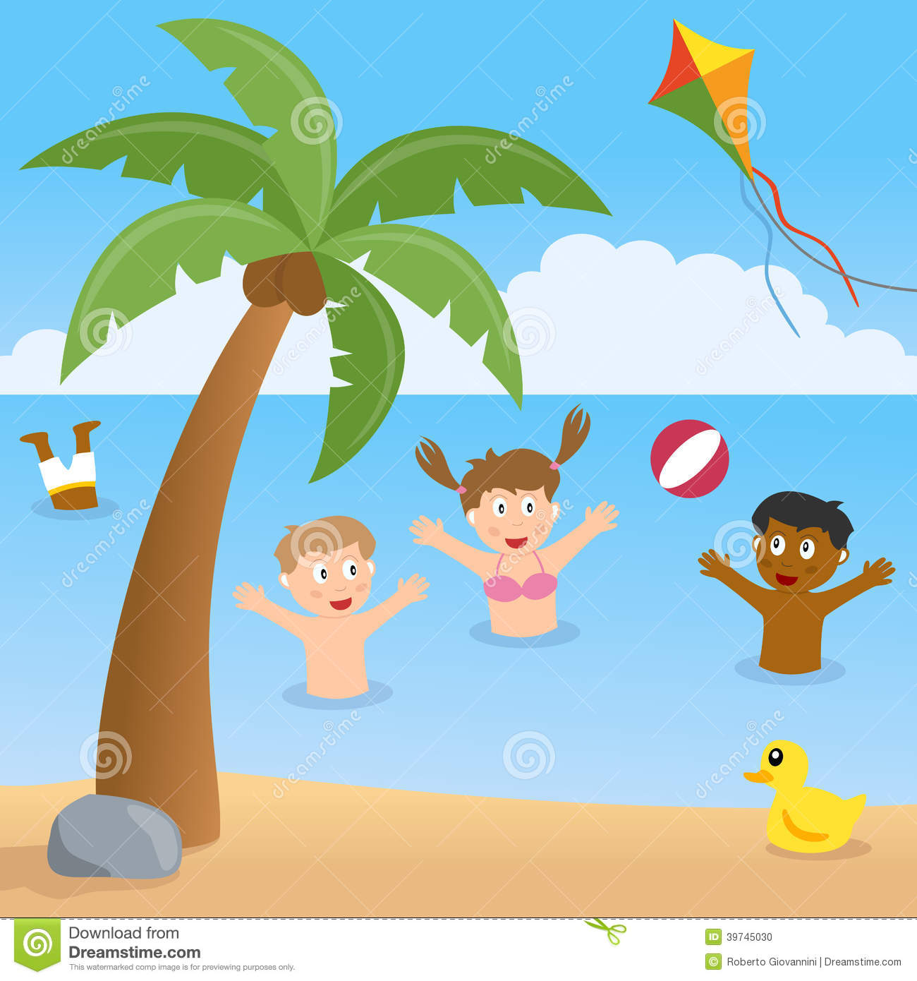 Kids Playing On A Beach With Palm Tree Stock Vector