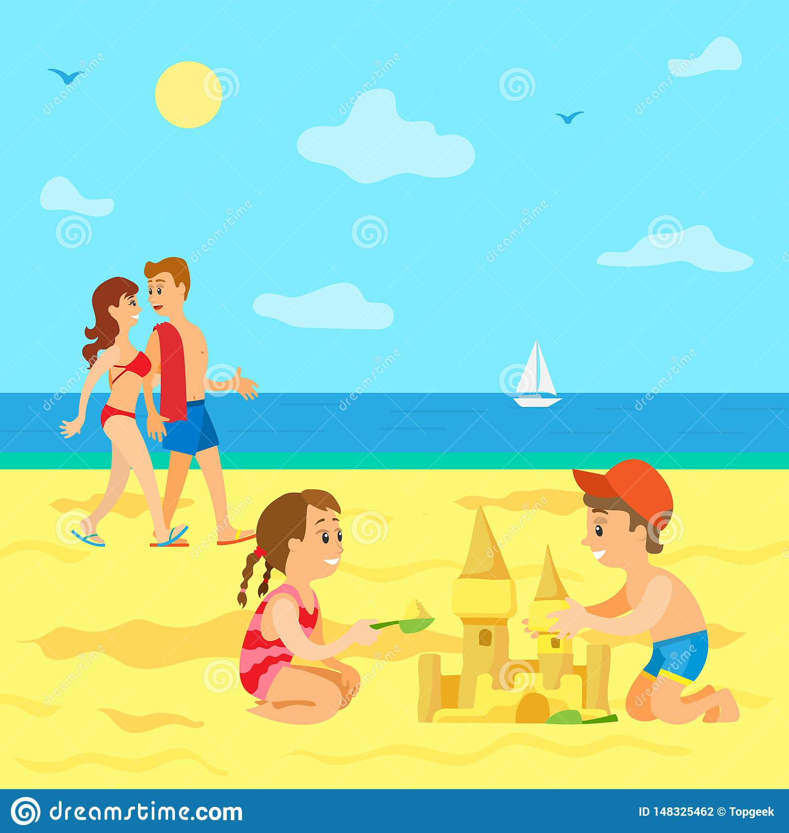 Kids Playing On Beach Summer Vacation Of Children Stock Vector Illustration Of Female Build 148325462