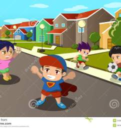 kids playing in the street of a suburban neighborhood [ 1300 x 957 Pixel ]