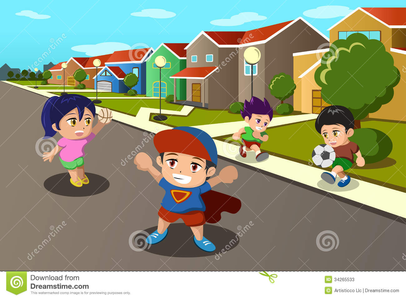 hight resolution of kids playing in the street of a suburban neighborhood
