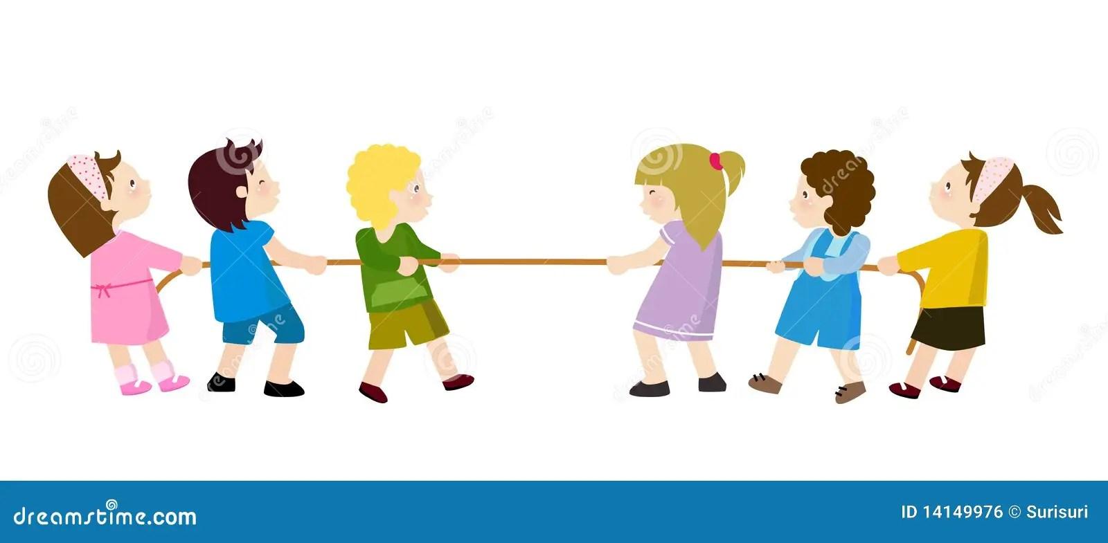 Kids Playing  Tug of War stock vector Illustration of