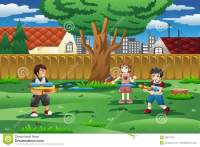 Kids Playing With Water Gun In The Backyard Stock Vector ...
