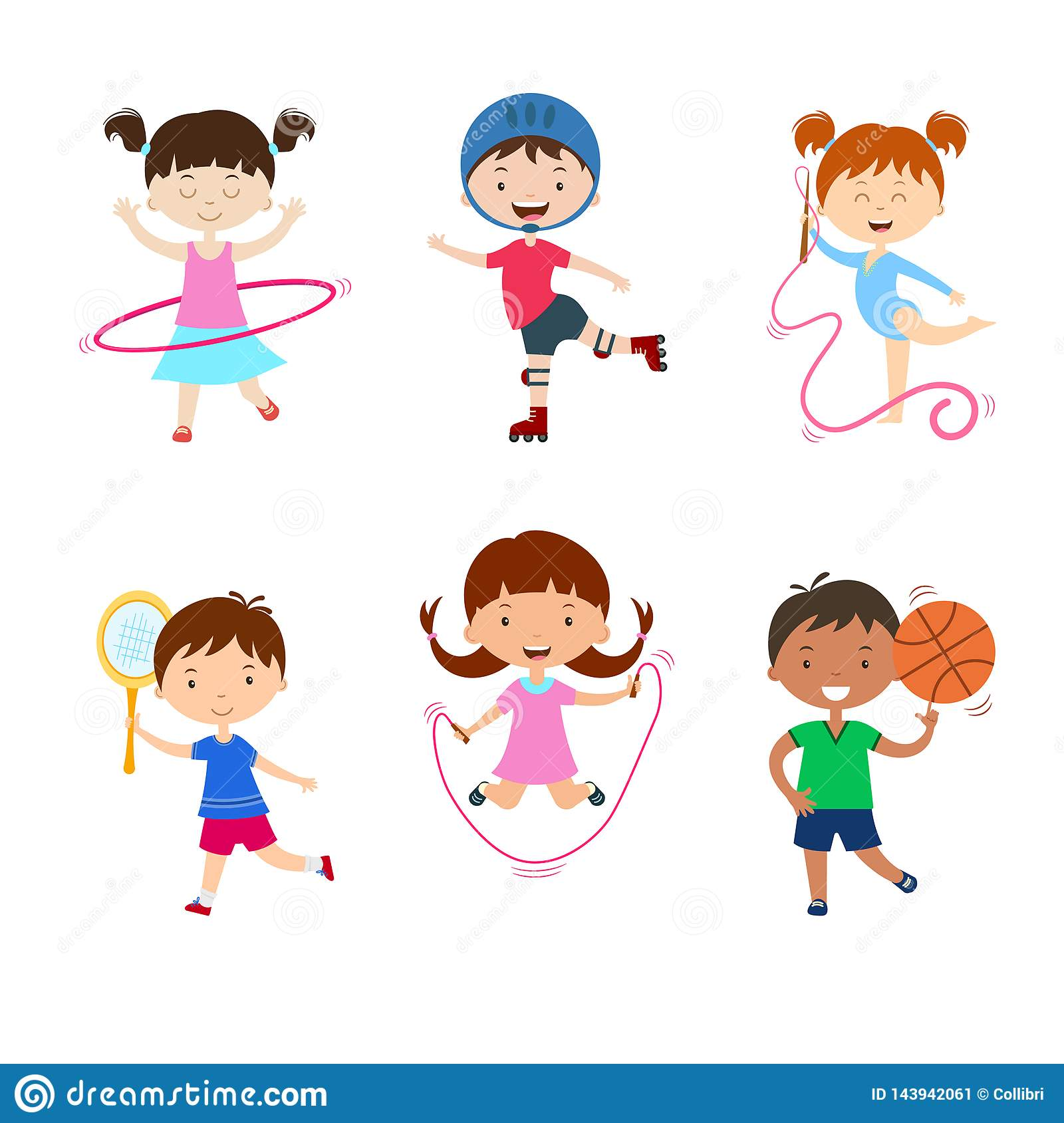 Children Sports Team Wins A Golden Cup Cartoon Vector