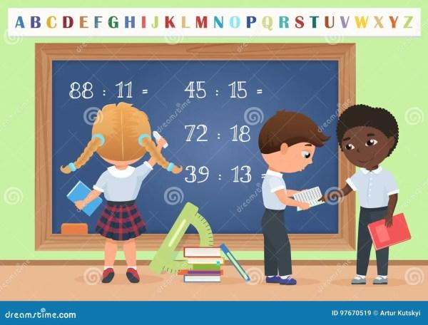 Kids Pupils In Classroom School Board Chalkboard