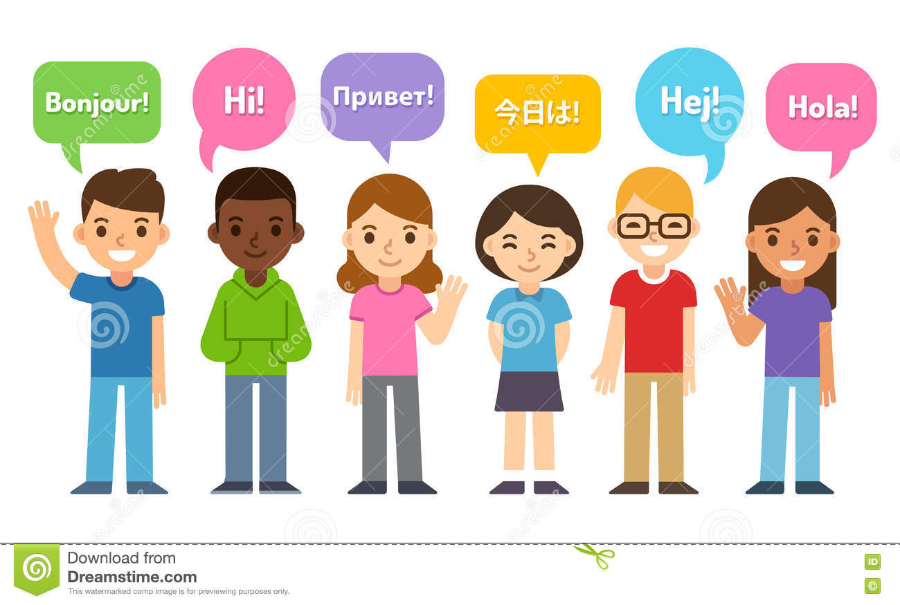 Kids Saying Hi In Different Languages Stock Vector