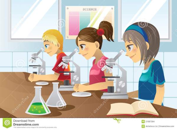 Kids In Science Lab Stock Vector. Illustration Of Girl