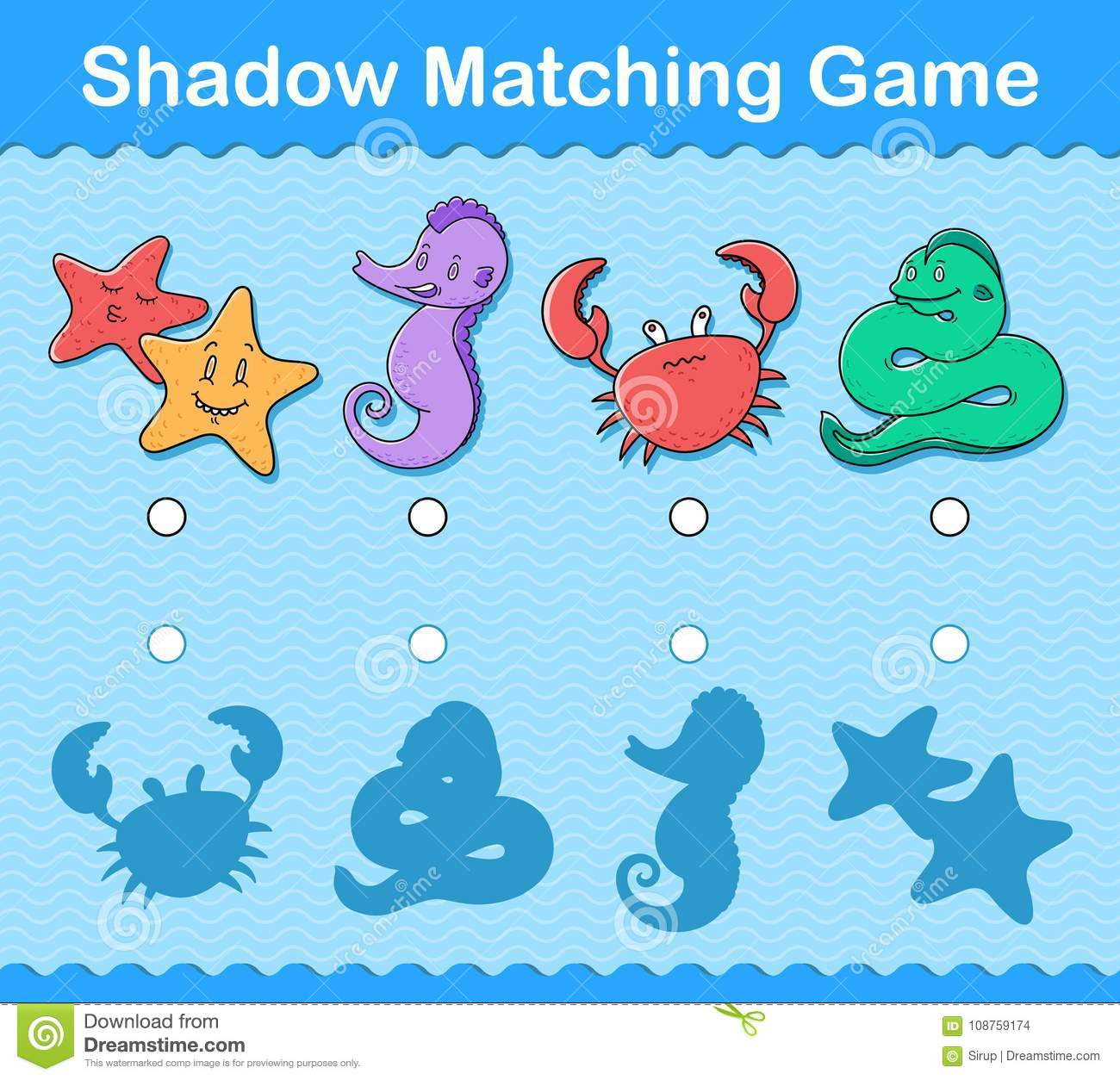Kids Shadow Matching Puzzle Game With Sea Life Stock