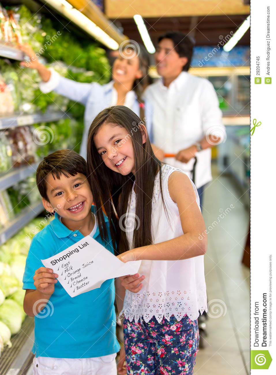 Kids With Shopping List Stock Image Image Of Customers 29204745