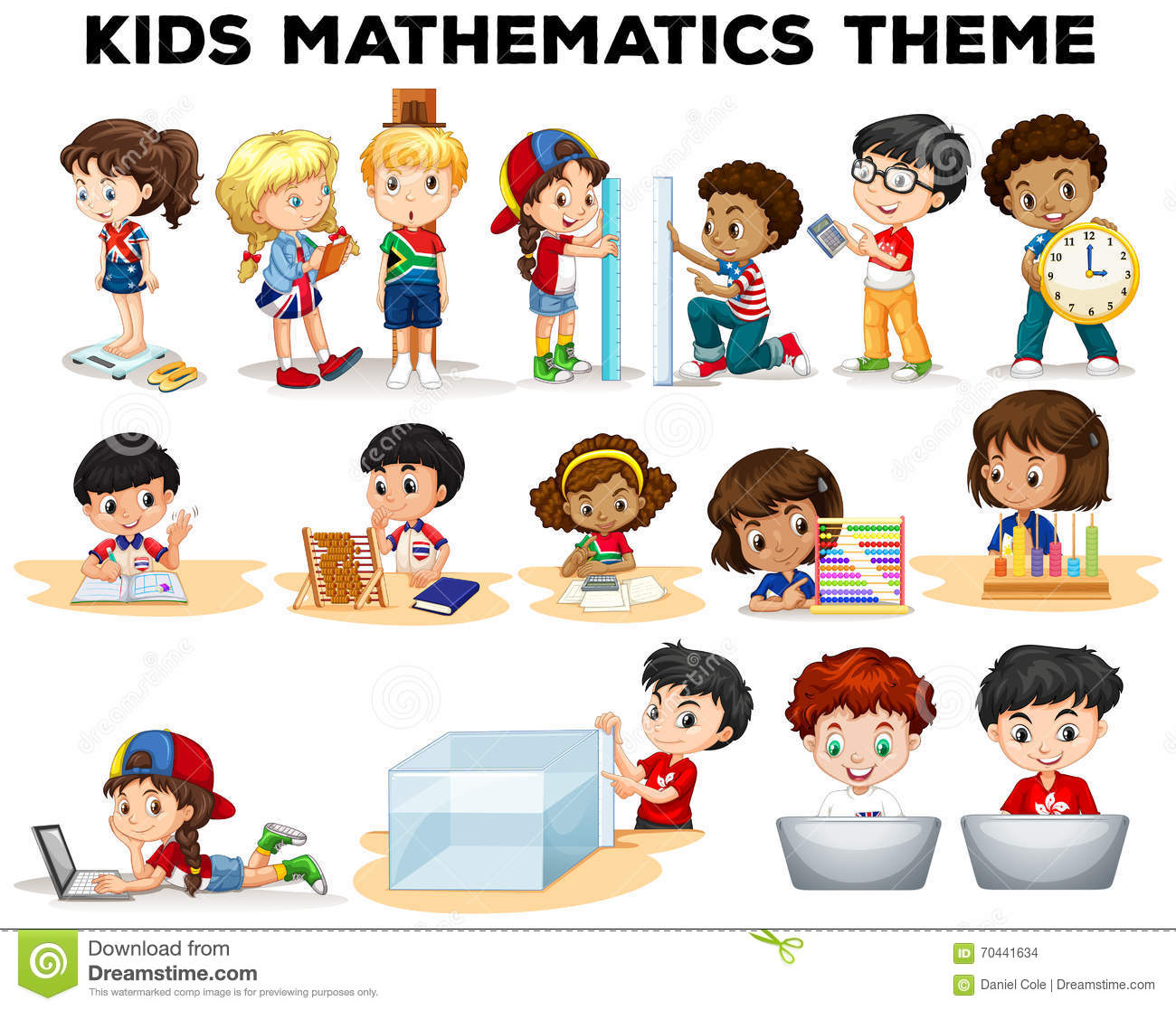 Kids Solving Math Problems Stock Vector Illustration Of