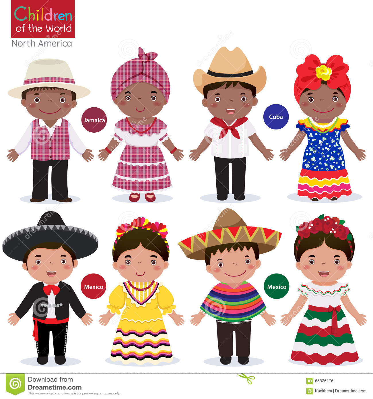 Kids In Traditional Costume Jamaica Cuba Mexico Stock