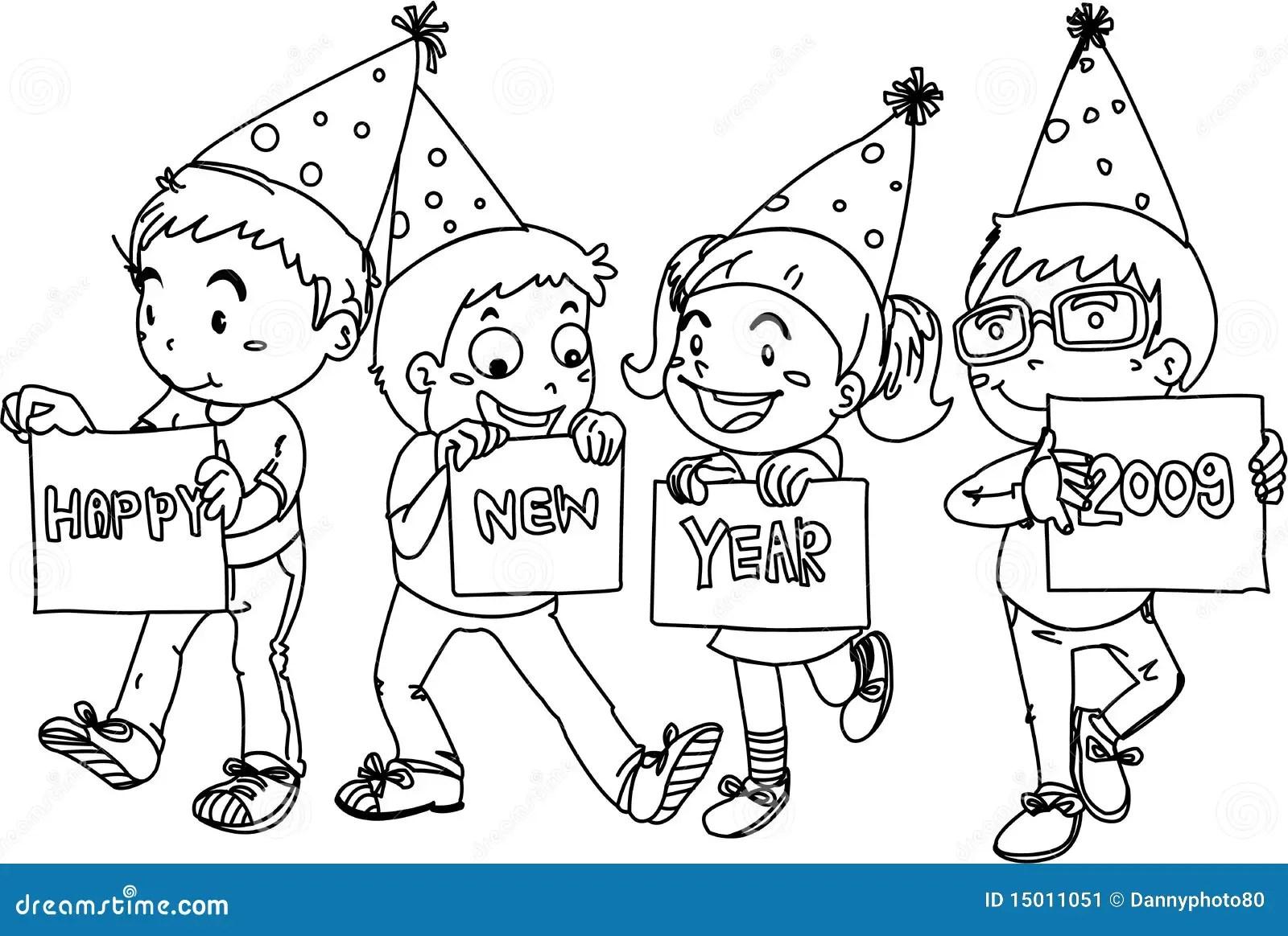 Kids Wishing Happy New Year Stock Vector Illustration Of