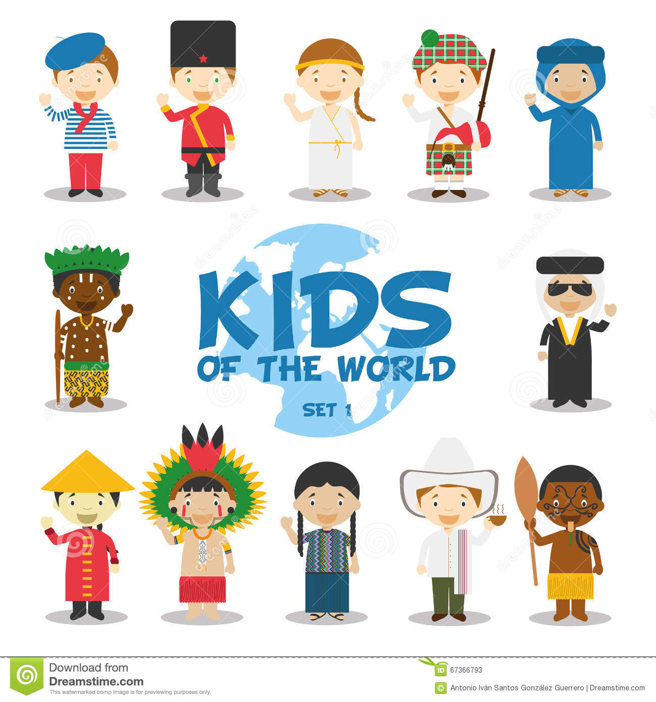 Kids And Nationalities Of The World Vector Asia And Oceania Australia Set 3 Cartoon Vector