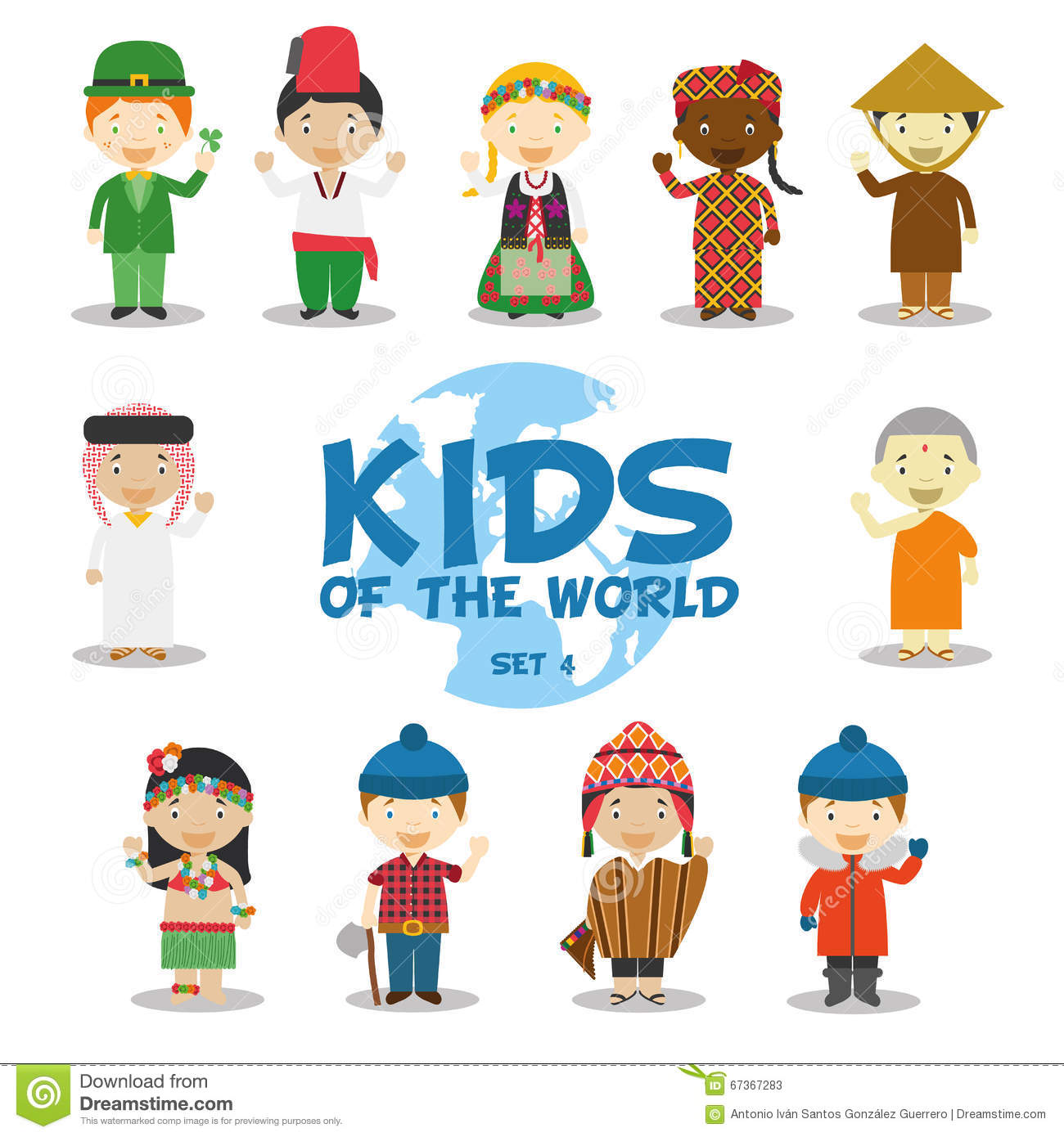 Kids And Nationalities Of The World Vector Asia And