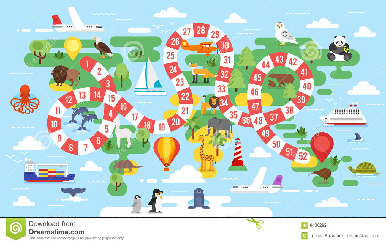 Kids World Tour Board Game Stock Vector Illustration Of