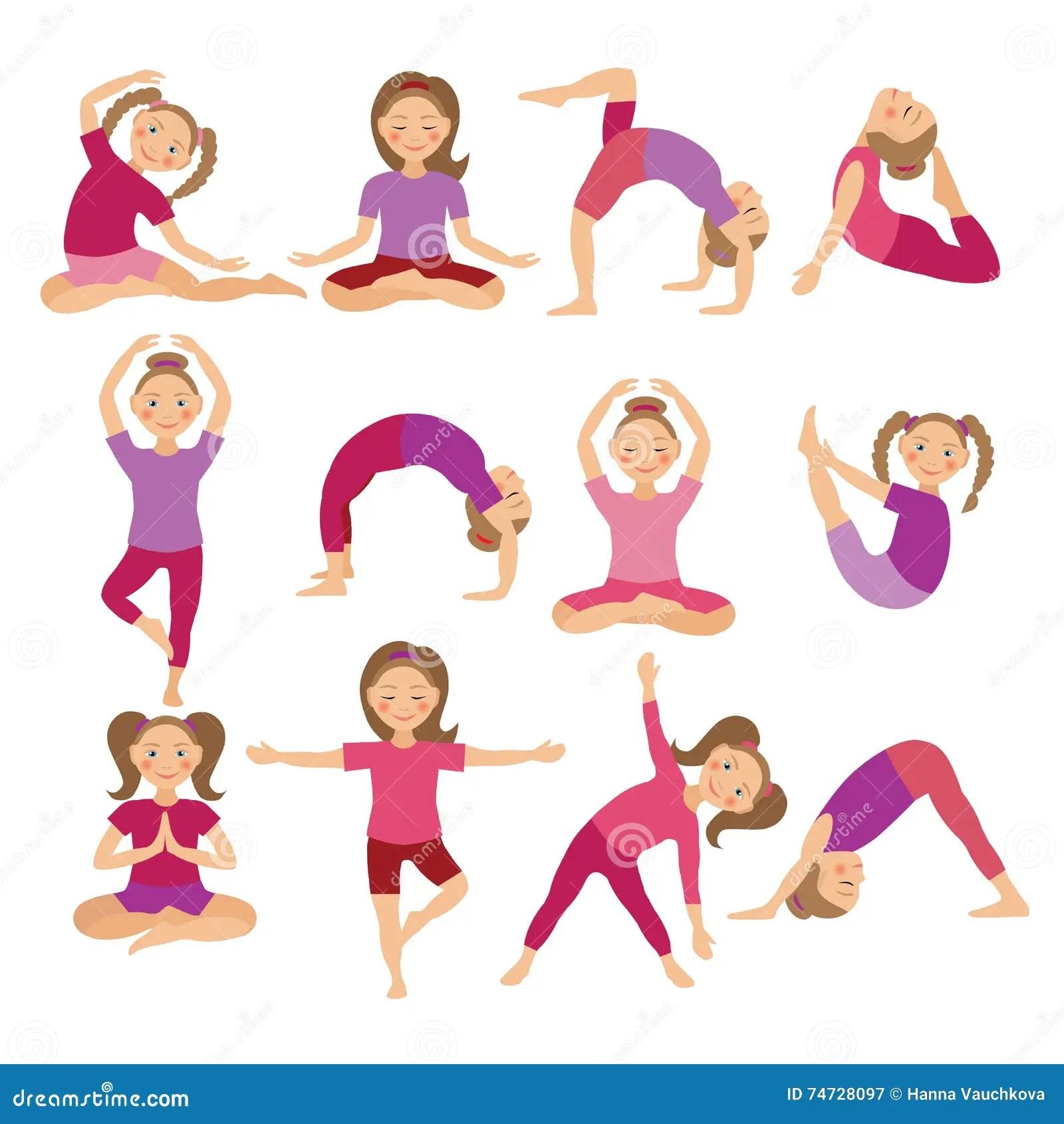 Kids Yoga Poses Vector Illustration Child Doing Exercises
