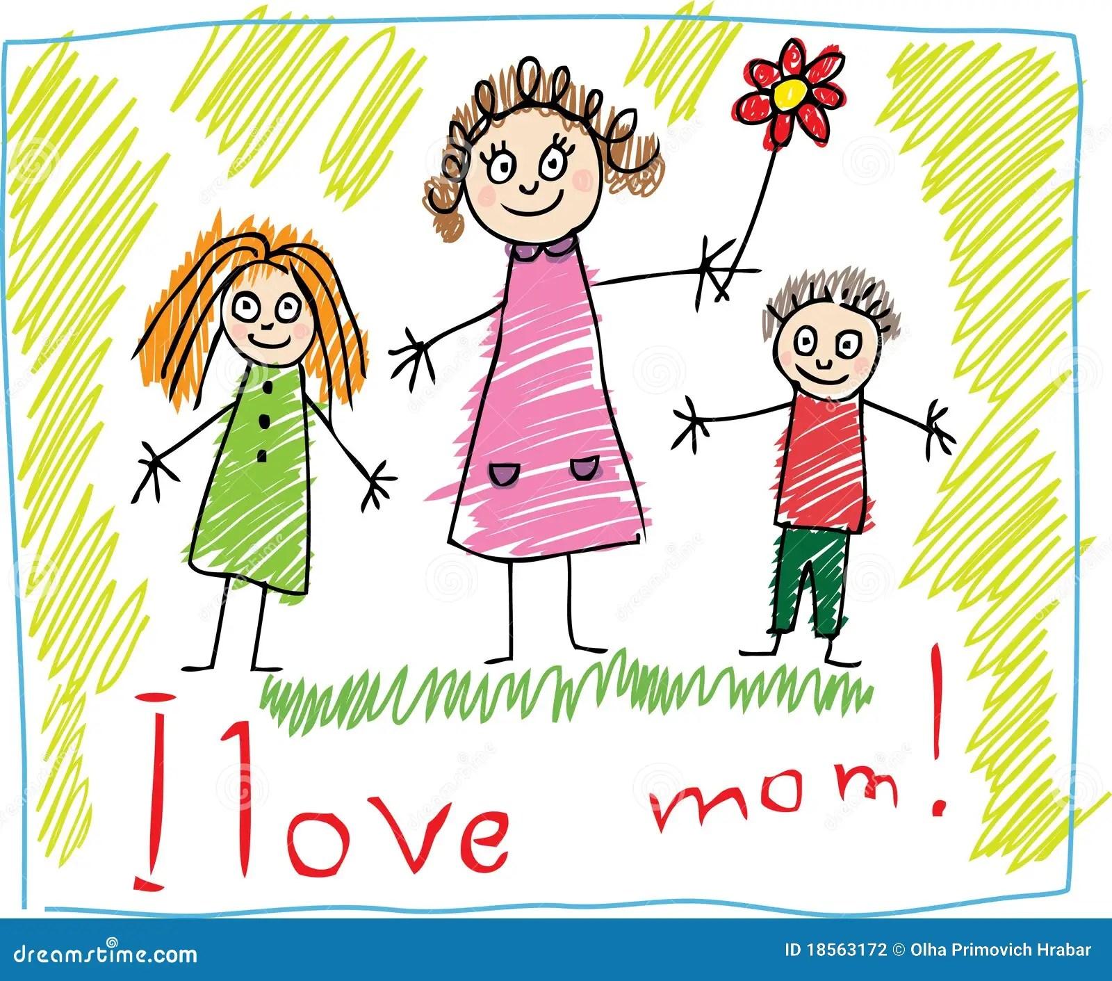 Kind Zeichnen Der Tag Des Mutter Vektor Abbildung
