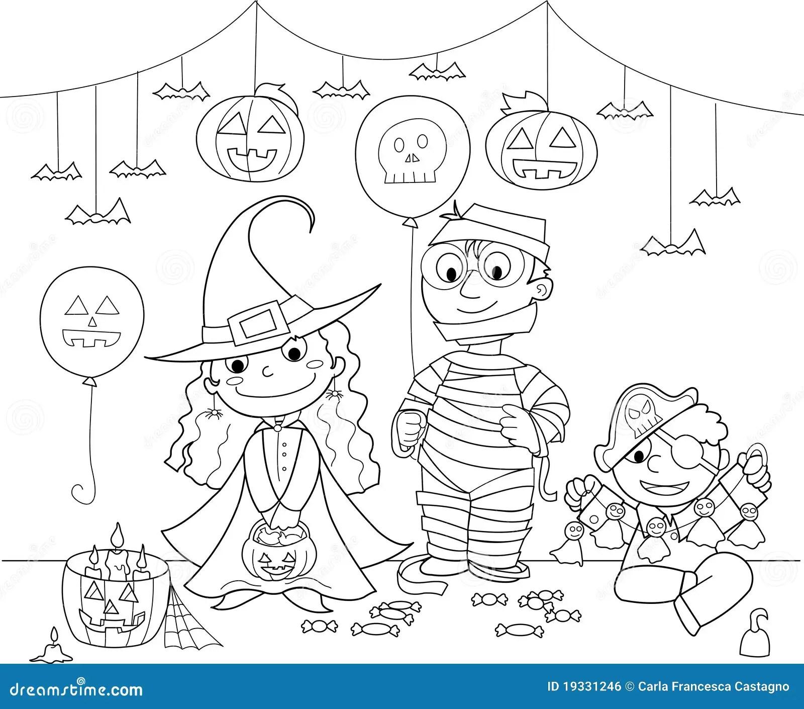 Kinder An Der Halloween Party Vektor Abbildung