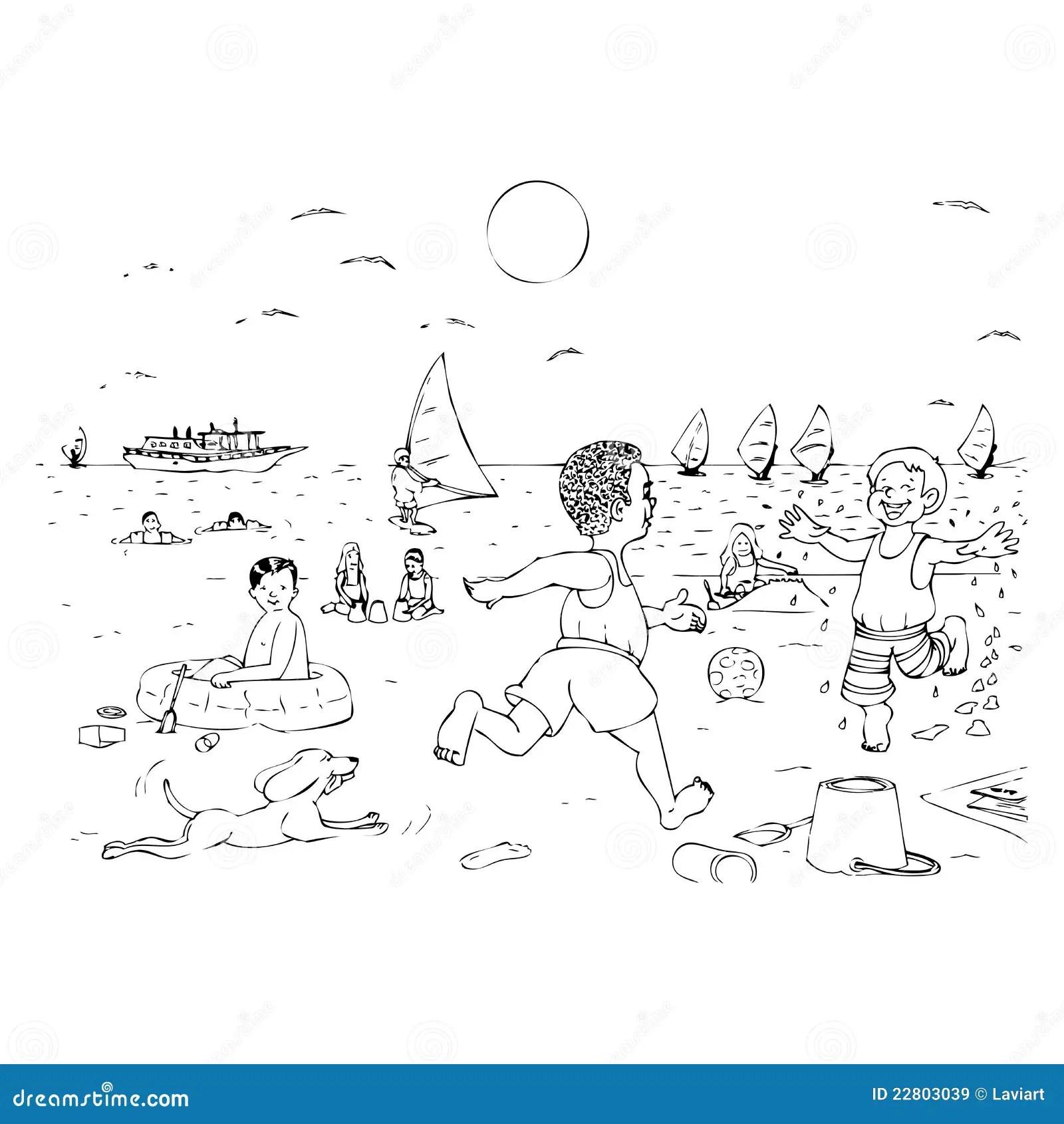 Kinder Auf Dem Strand Spielen Stock Abbildung