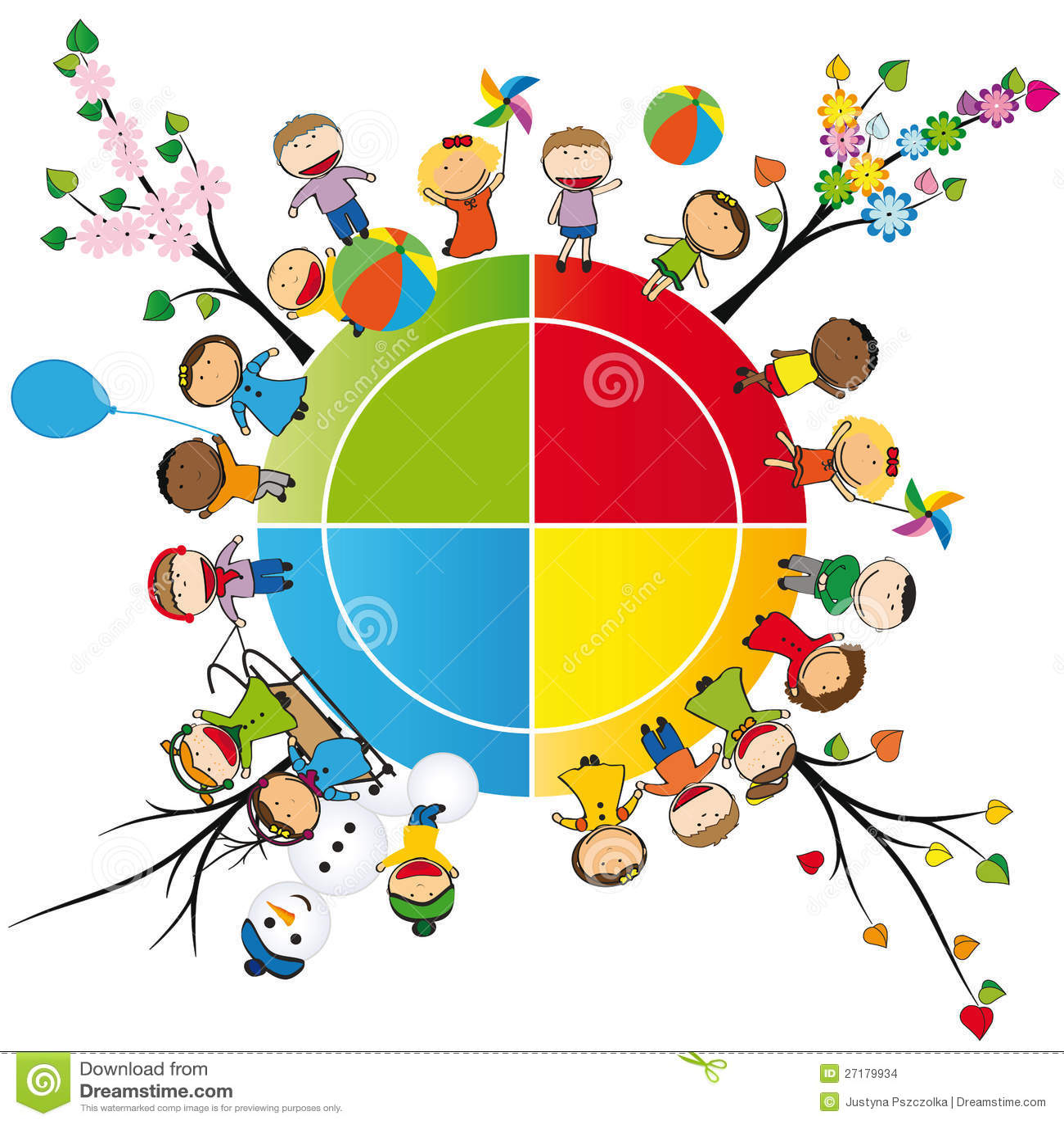 Kinder In Vierjahreszeiten Vektor Abbildung Illustration
