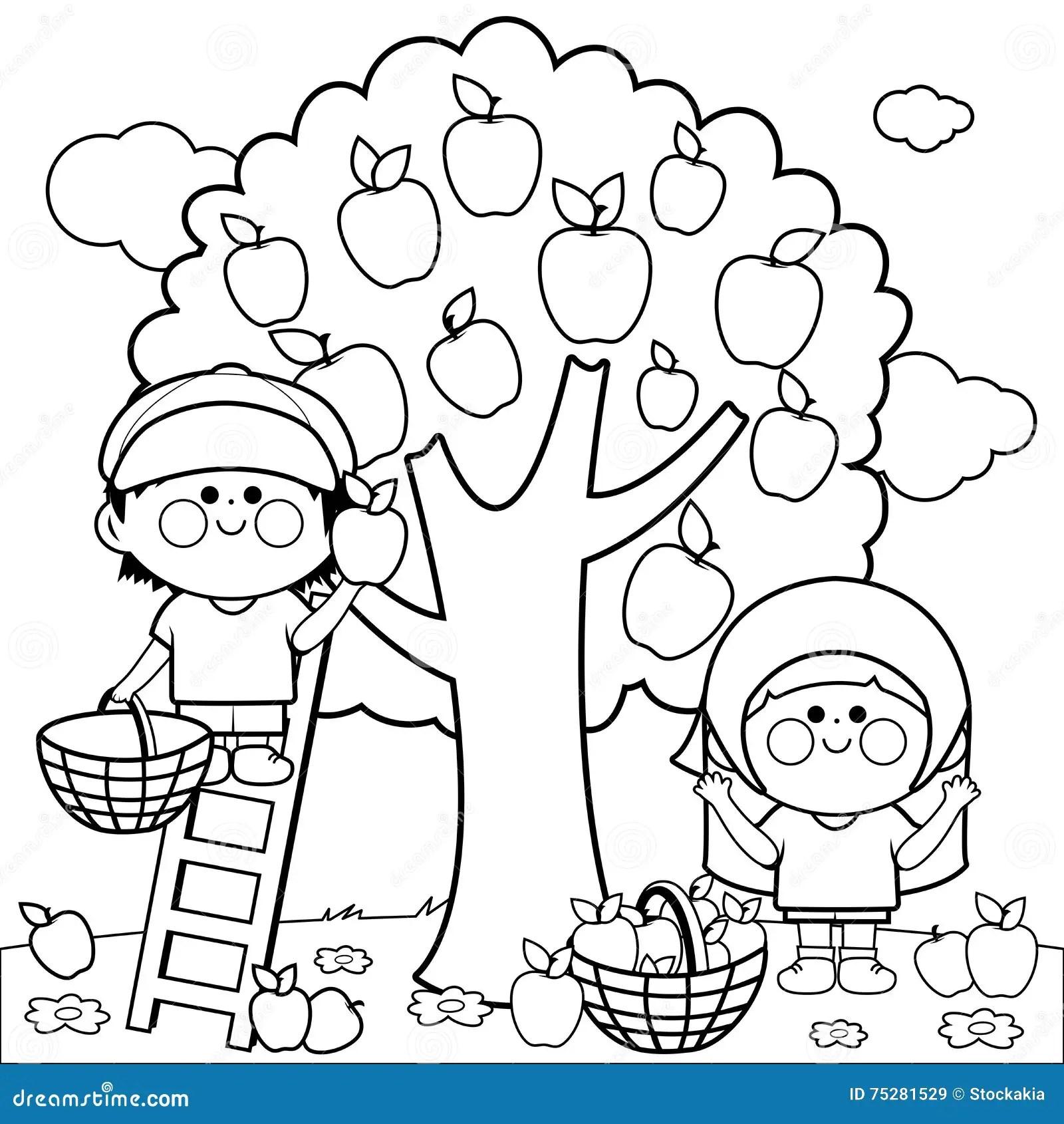Kinderen Die Appelen Oogsten Die Boekpagina Kleuren Vector