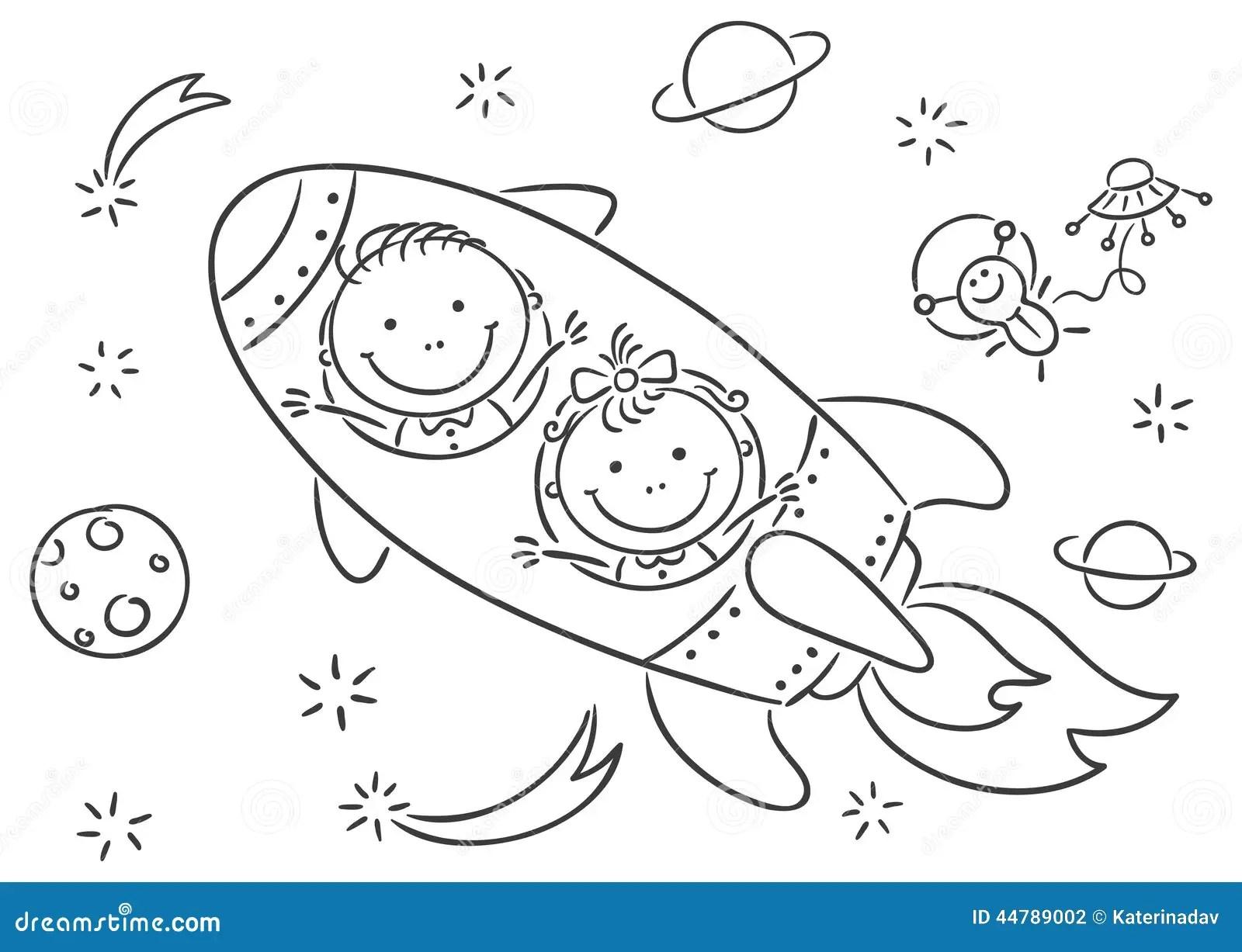 Kinderen Ruimte Onderzoeken Vector Illustratie