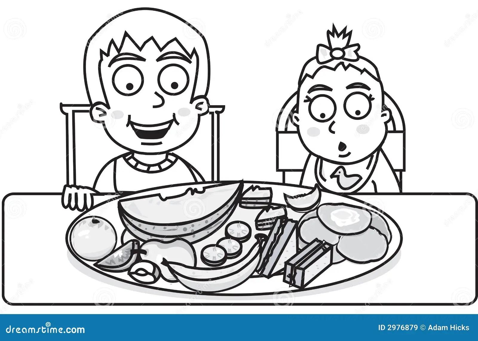 Kinderen Klaar Te Eten Vector Illustratie Illustratie