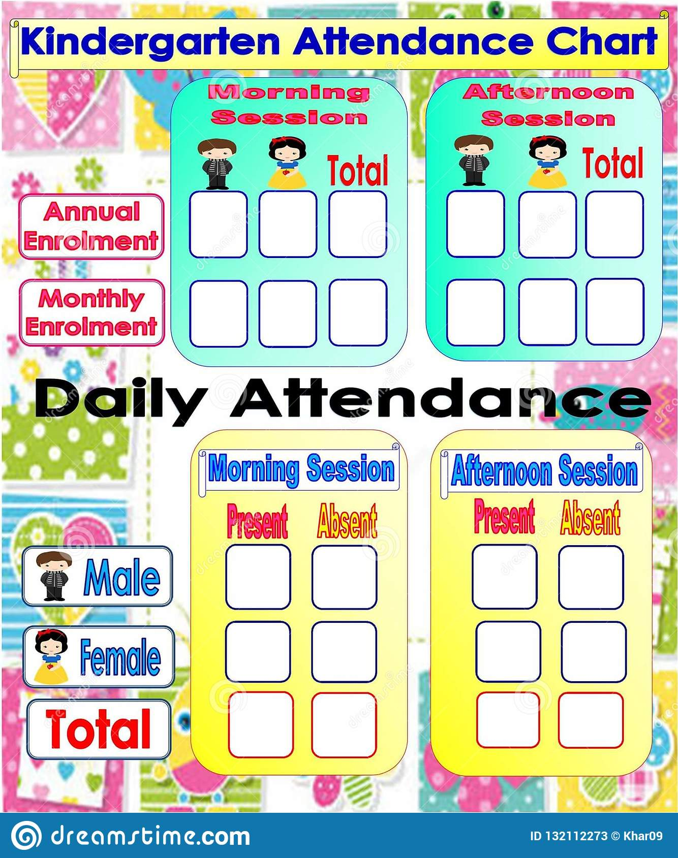 Kindergarten Attendance Chart Stock Illustration