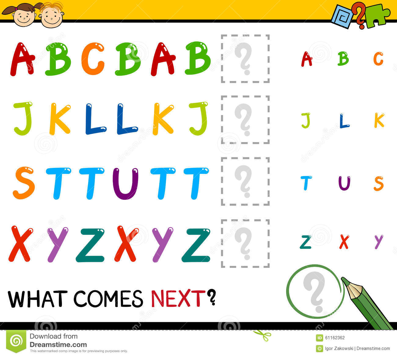 Kindergarten Educational Pattern Task Stock Vector