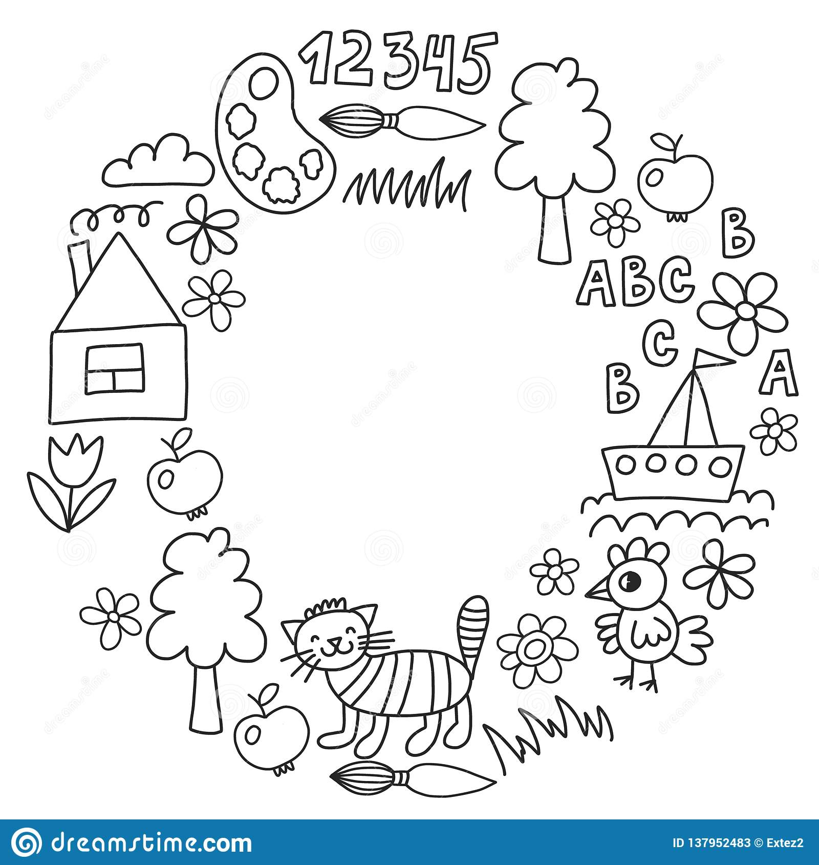 Kindergarten Pattern Drawn Kids Garden Elements Pattern